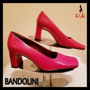 NWOT BANDOLINO NOTARIO RED LEATHER SQUARE TOE HEEL